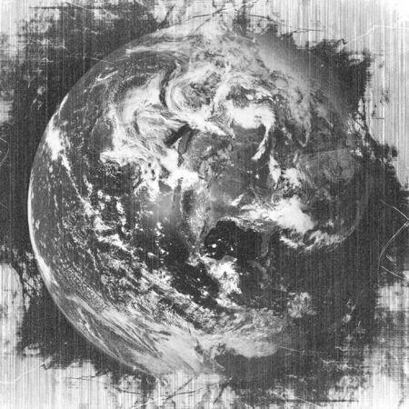 orbital: Earth in space: grunge black and white earth Stock Photo