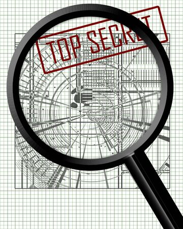 industrial espionage: Industrial espionage with a magnifier Stock Photo
