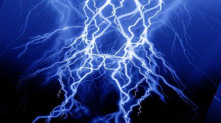 fierce: fierce lightning on a blue background Stock Photo