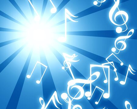 abstract blue rays with musical notes Stock Photo - 3301549