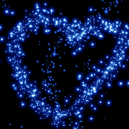 starlight: stars in the shape of a heart in the night sky Stock Photo