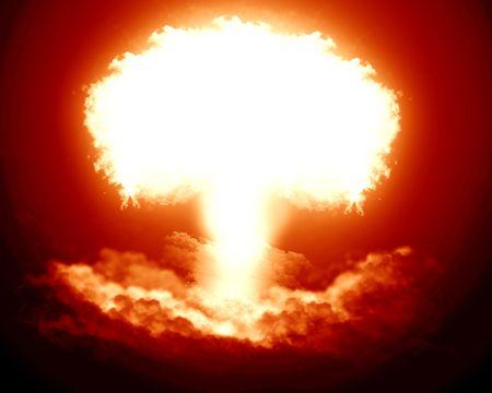 nuke: bright nuclear explosion Stock Photo