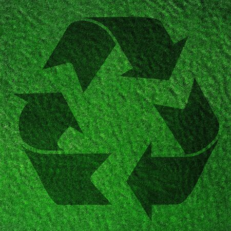 recycle symbol on a bright green background photo