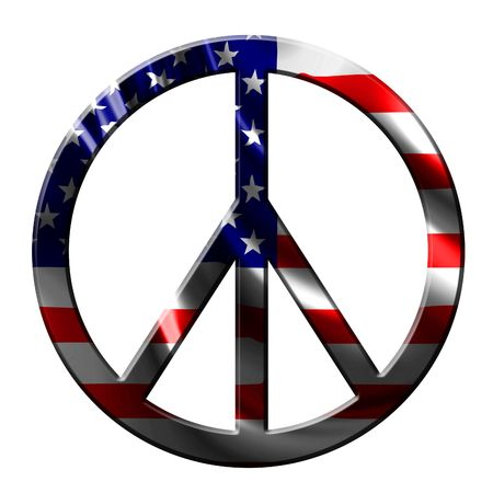 peace symbol with integrated american flag Stock Photo - 3301298