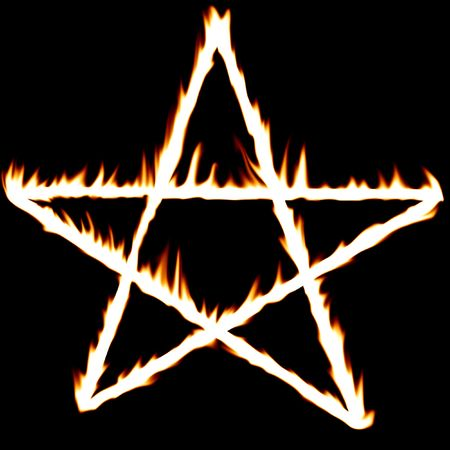 fiery pentagram on a solid black background Stock Photo