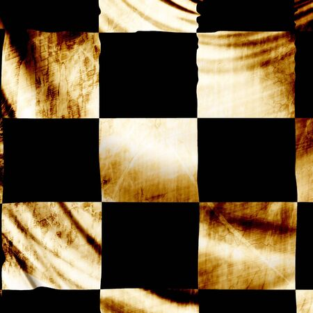 the fastest: Old checkered flag with folds waving in the wind