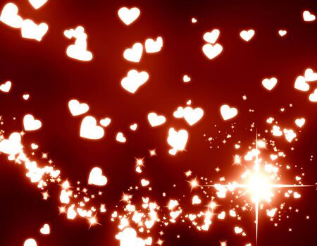 hearts and glitters on a dark red background Stock Photo
