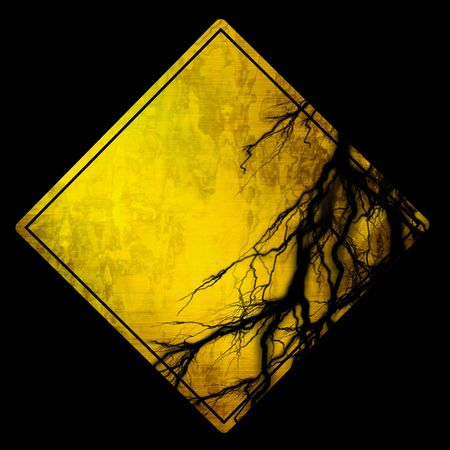 empty warning sign on a soldi black background Stock Photo - 3302215