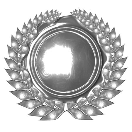silver wreath and medal on a solid white background photo