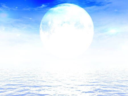 peacefull: moon above the ocean in a clear blue sky Stock Photo