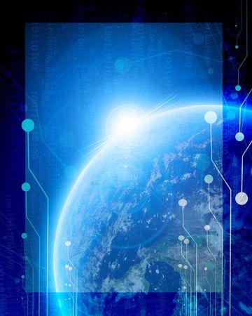 digital world on a blue background Stock Photo