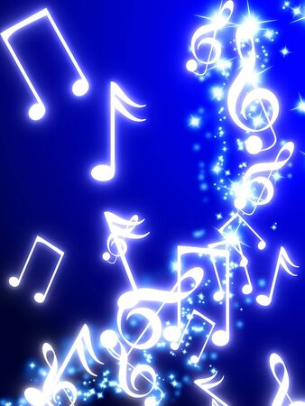concert lights: sparkling trail with musical notes Stock Photo