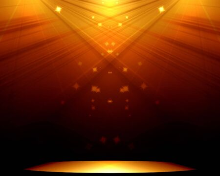 famous actor: Stage with golden spotlight and sparkles