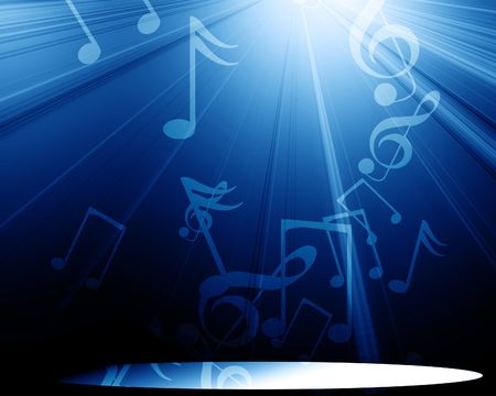 note pc: musical notes on a clear blue background Stock Photo