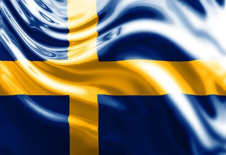 Swedish flag waving in the wind Stock Photo - 3301867