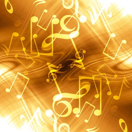 yellow note: golden abstract background with music notes in it