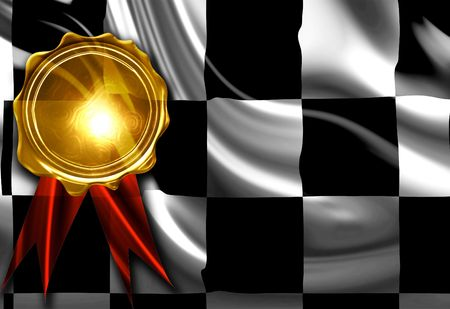 second prize: Checkered flag with a gold medal on top