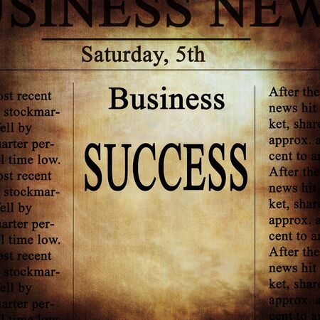 business news with success written on it photo