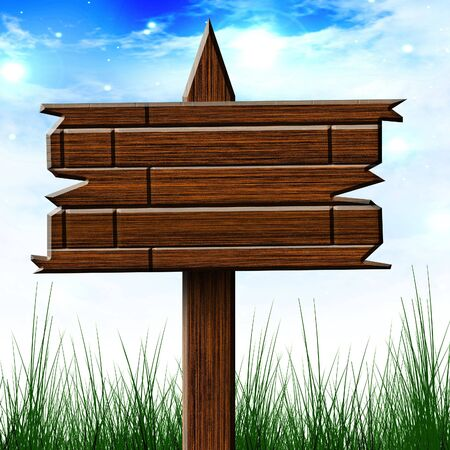 wooden billboard sign on a clear sky background photo