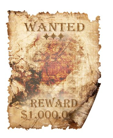 page long: A vintage wanted sign isolated on white background