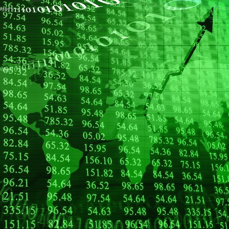 global investing: electronic stock numbers on a green background