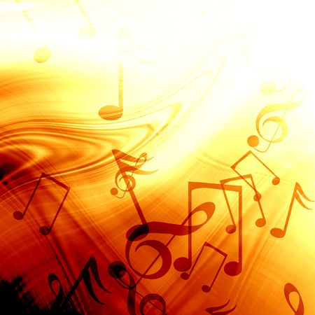 yellow note: fire like abstract background with music notes Stock Photo