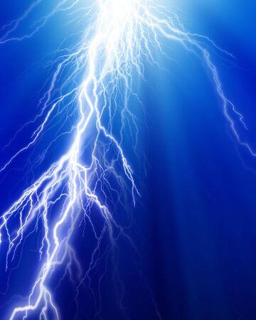 fierce: Fierce lightning on a dark blue background Stock Photo