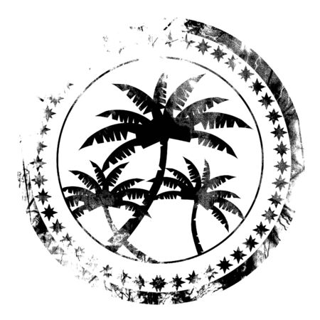postal stamp with palm trees on it