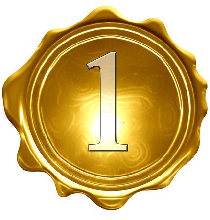 gouden medaille op een stevige witte achtergrond