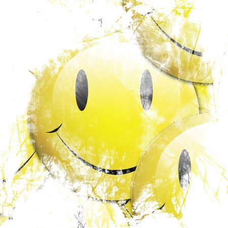 Background composited by overlapping 3d rendered emoticons Stock Photo - 3356306