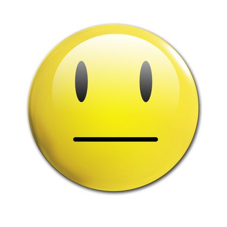 happy and sad: an unhappy smiley on a white background Stock Photo