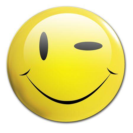 clin d oeil: Clin d'oeil un smiley sur un fond blanc  Banque d'images
