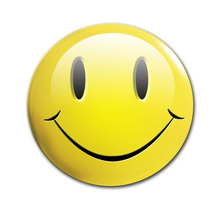 happy 3d: smiley face on a solid white background
