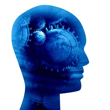 Human head silhouette with focus on the brain Stock Photo