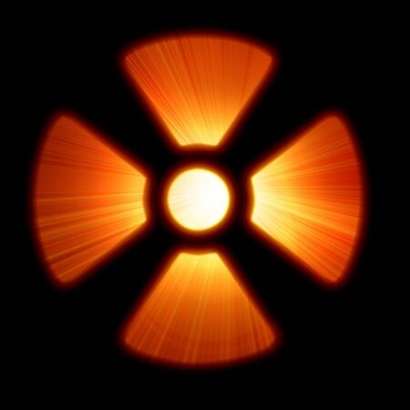 nuclear warning sign on a dark black background Stock Photo - 3495581
