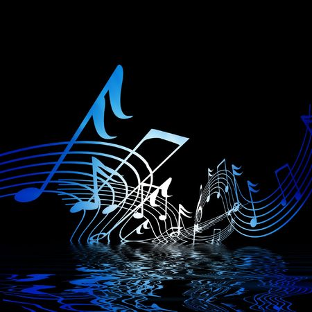 musical notes on a black background with some reflection photo