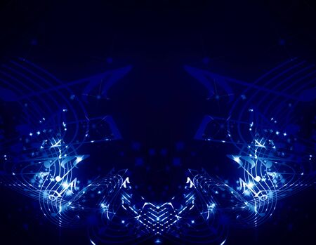 concert lights: musical notes on a dark blue background