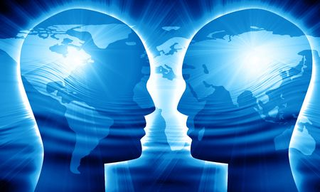 global thinking: Global communication on a bright blue background