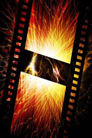 Flaming film strip photo