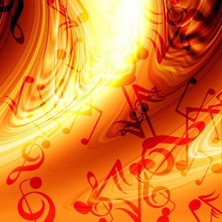 Abstract flowing fire background with music notes