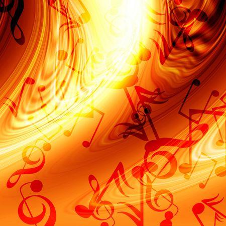 infierno: Resumen de fuego que fluye la m�sica de fondo con notas