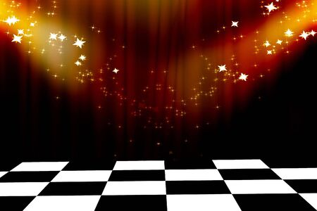 famous writer: Curtain background with spotlights and glitters on it Stock Photo