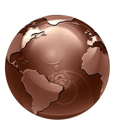 melted chocolate: chocolate globe on a solid white background Stock Photo