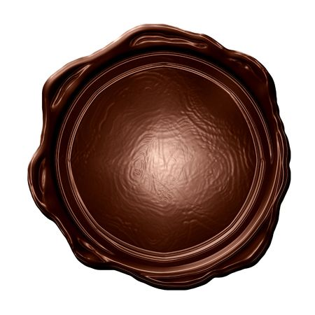 wax stamp: blank chocolate seal on a solid white background Stock Photo