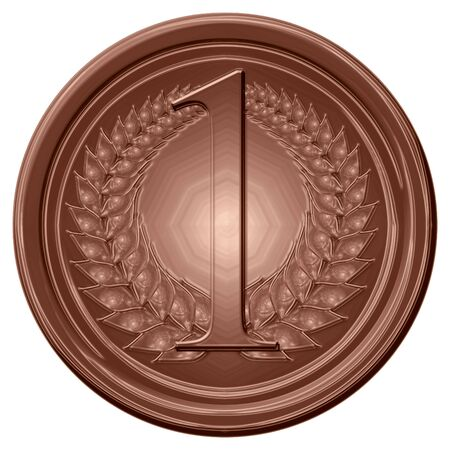 chocolate medal on a solid white background photo