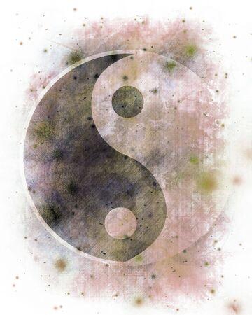 Yin yang symbol on a grunge like background Stock Photo - 3497410