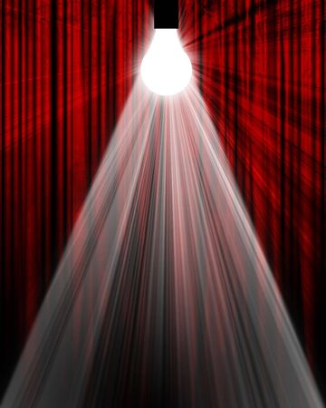 Movie or theater curtain with a glowing lightbulb Stock Photo - 3497176