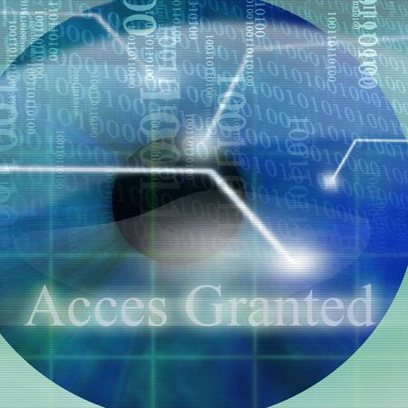 access granted: Access granted after eye scan on a blue background Stock Photo