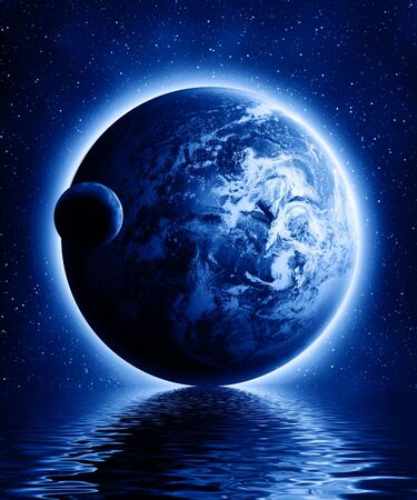 Earth and moon in a dark universe with some reflection