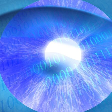 bytes: Human pupil with integrated bits and bytes Stock Photo